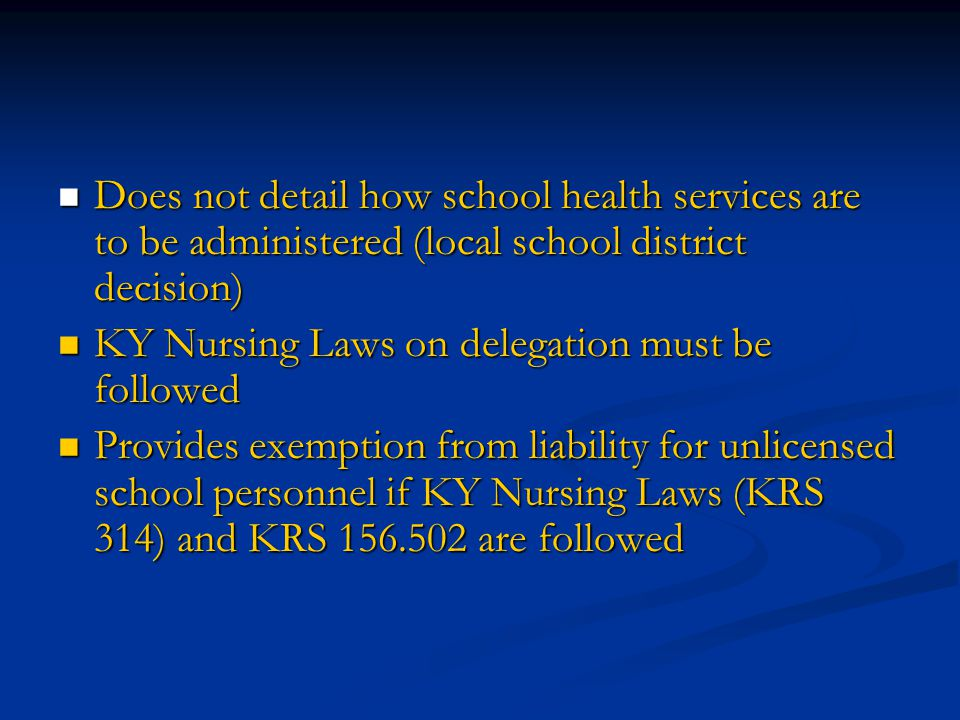 Does not detail how school health services are to be administered (local school district decision)