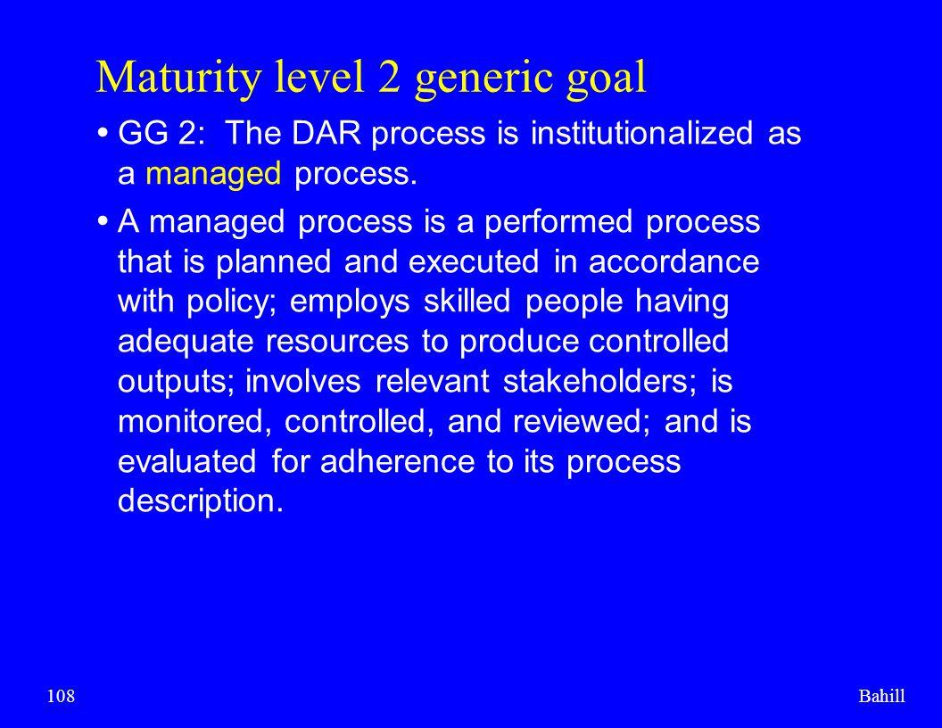 Maturity level 2 generic goal