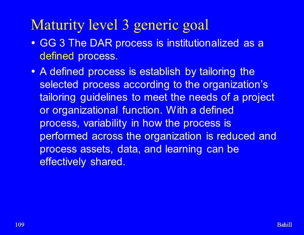 Maturity level 3 generic goal