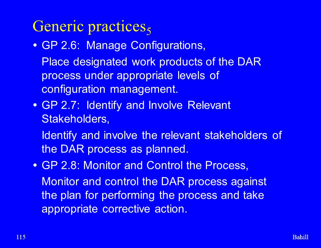Generic practices5 GP 2.6: Manage Configurations,