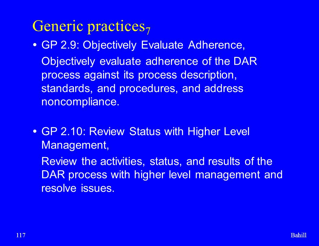 Generic practices7 GP 2.9: Objectively Evaluate Adherence,