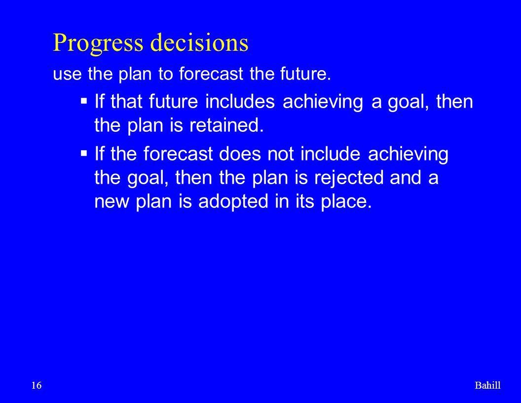 Progress decisions use the plan to forecast the future. If that future includes achieving a goal, then the plan is retained.