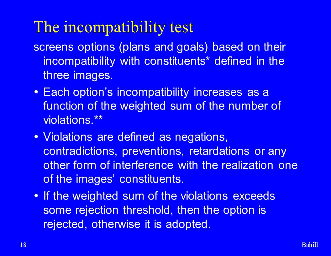 The incompatibility test