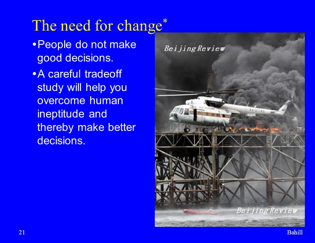 The need for change* People do not make good decisions.