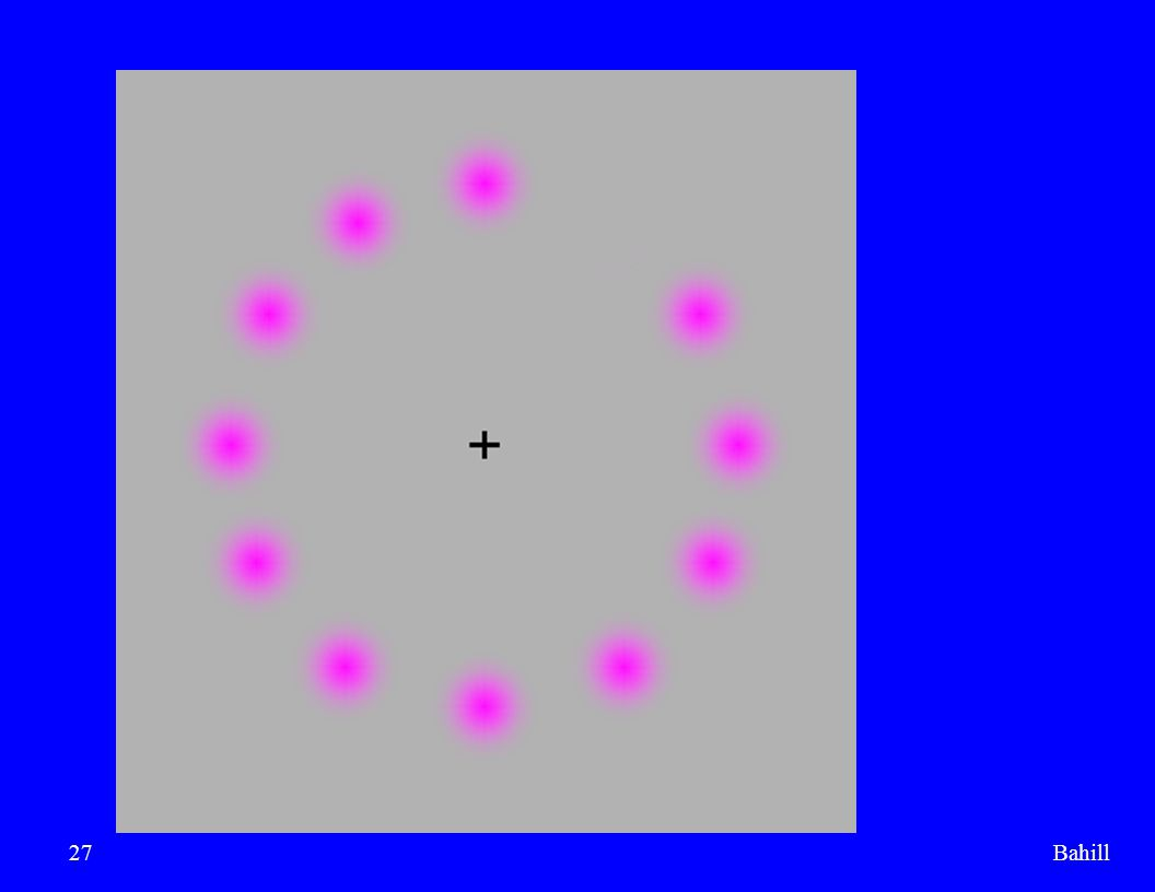 Bahill Stare at the black cross. When do the green dots come from