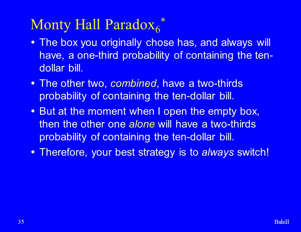 Monty Hall Paradox6* The box you originally chose has, and always will have, a one-third probability of containing the ten-dollar bill.