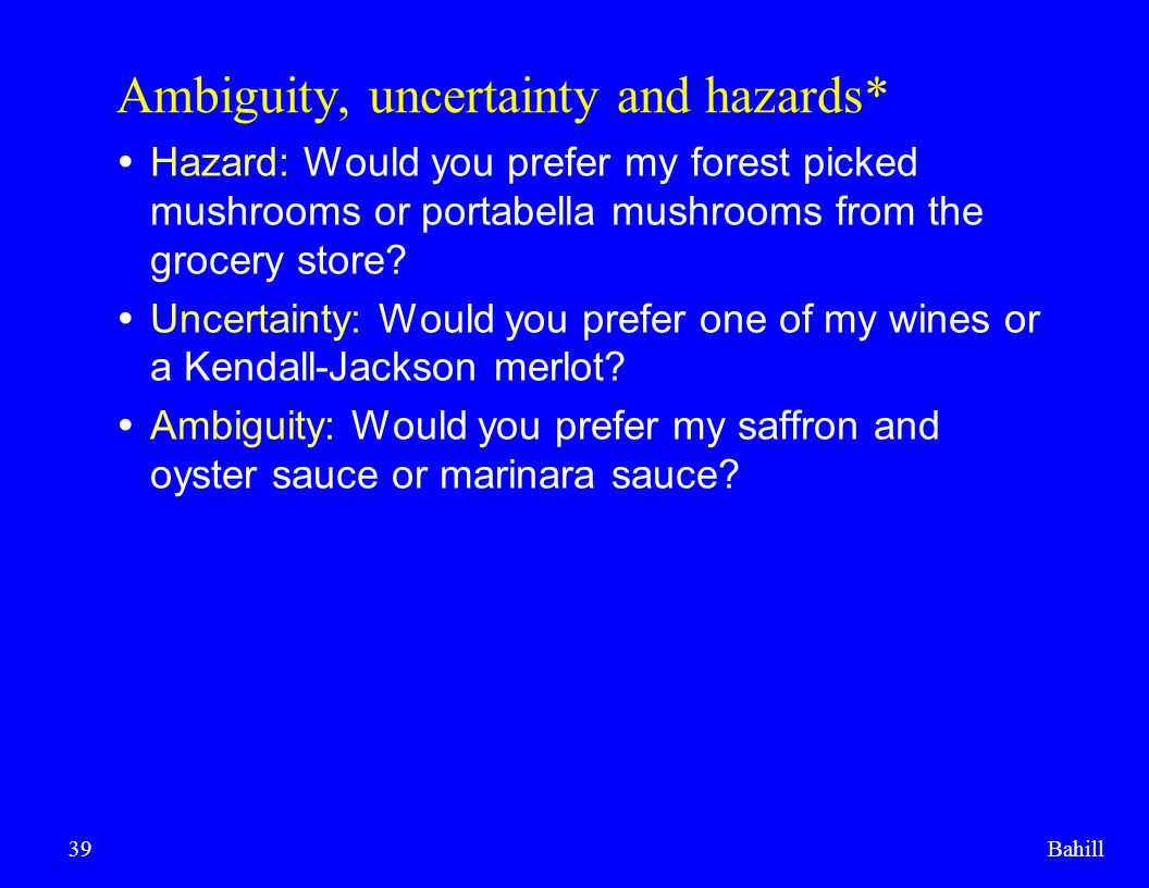 Ambiguity, uncertainty and hazards*