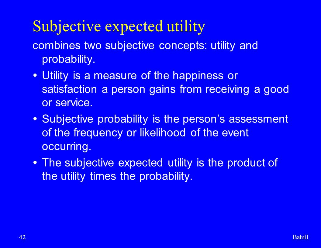 Subjective expected utility