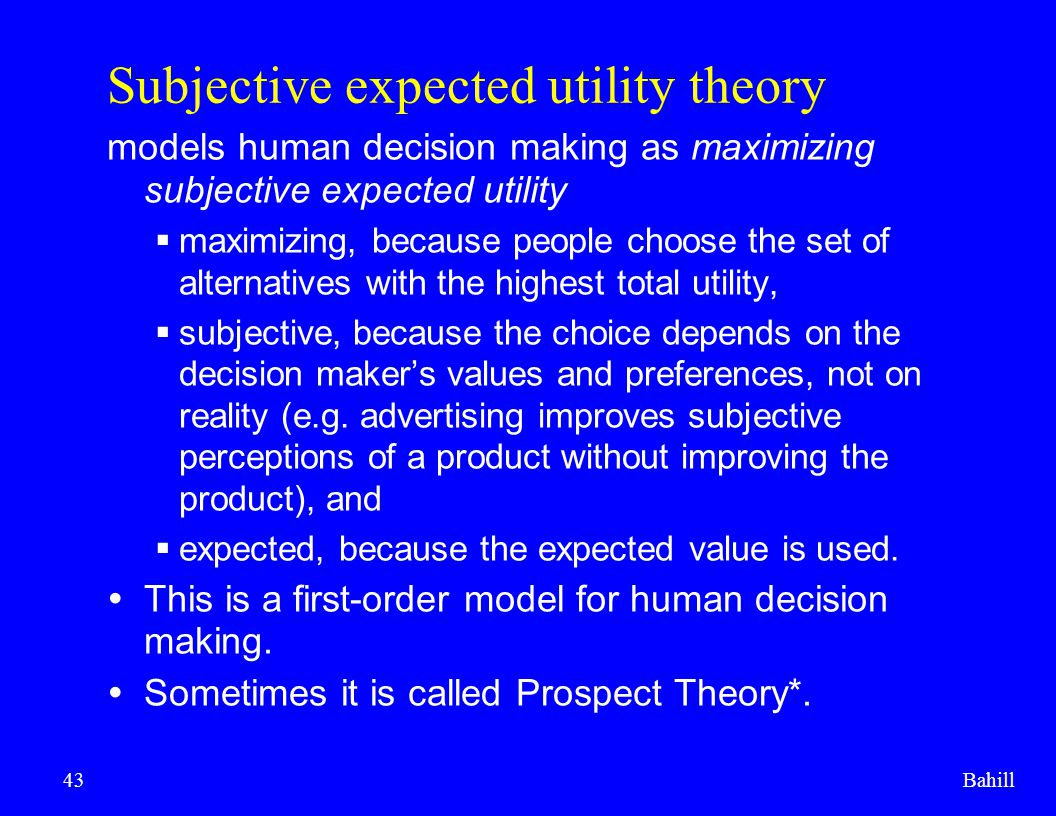Subjective expected utility theory