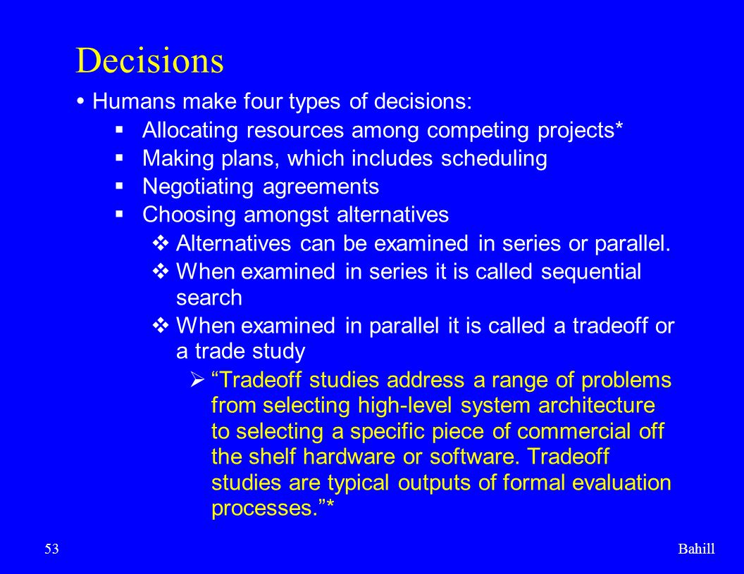 Decisions Humans make four types of decisions: