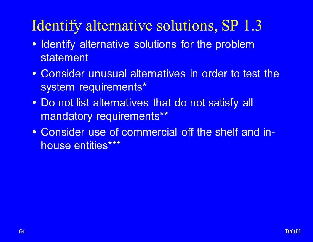 Identify alternative solutions, SP 1.3