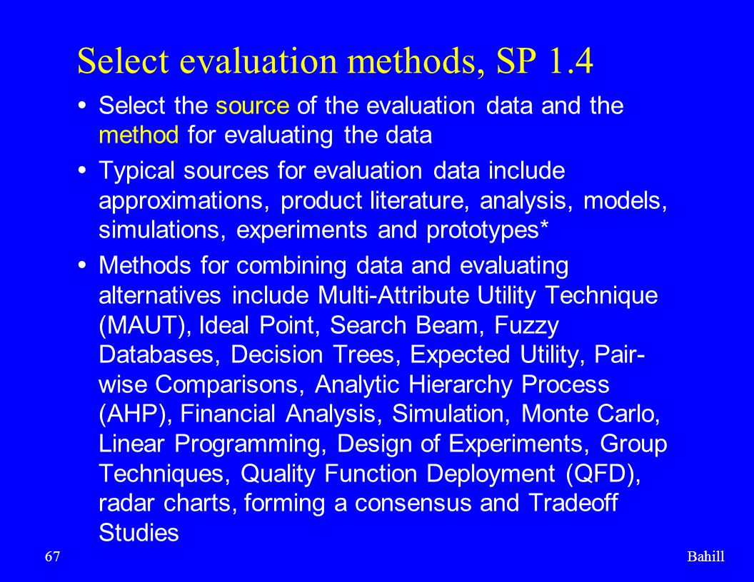 Select evaluation methods, SP 1.4