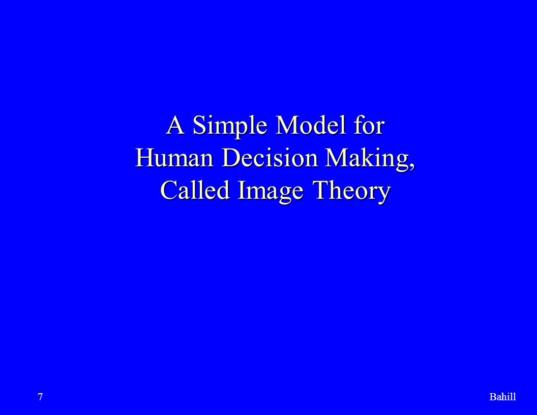 A Simple Model for Human Decision Making, Called Image Theory