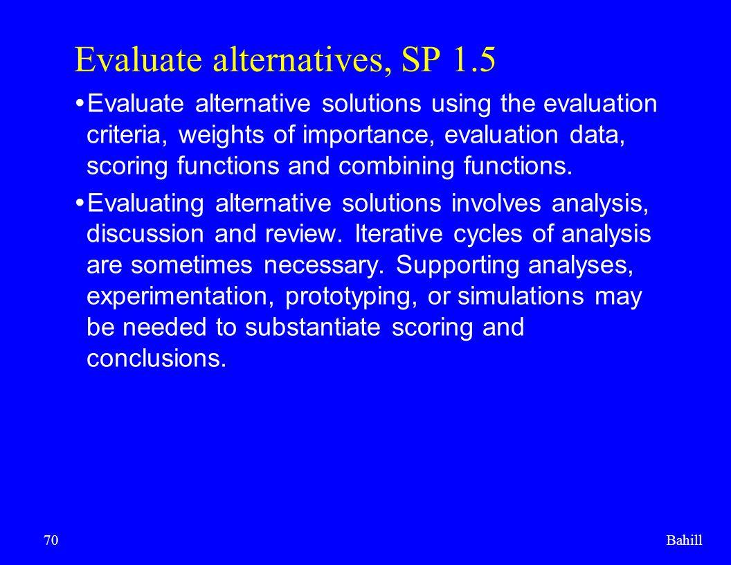 Evaluate alternatives, SP 1.5
