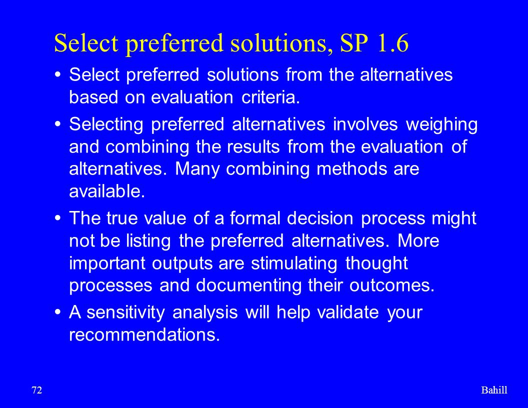 Select preferred solutions, SP 1.6