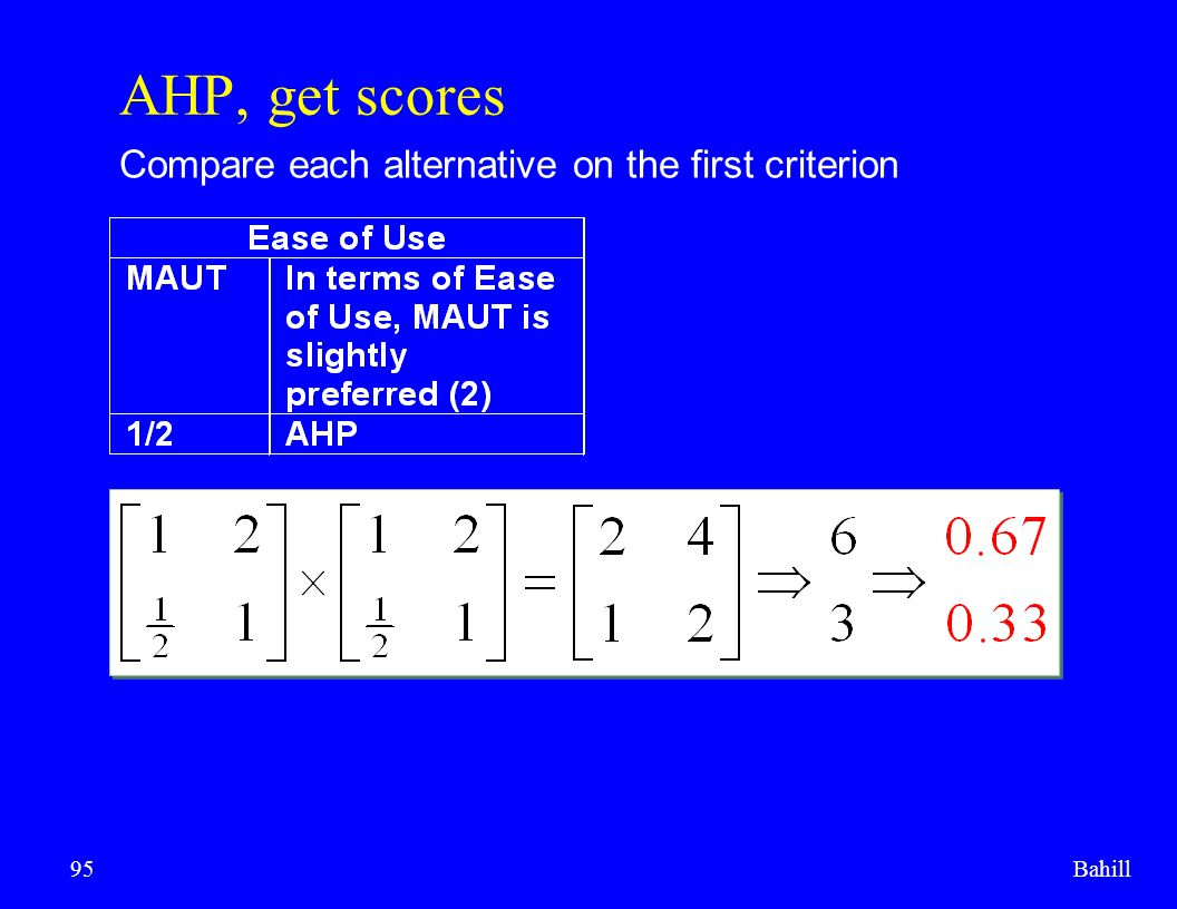 AHP, get scores Compare each alternative on the first criterion Bahill