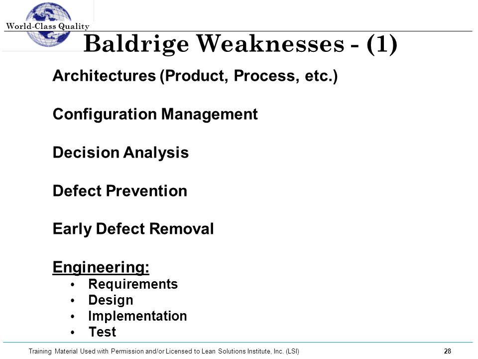 Baldrige Weaknesses - (1)