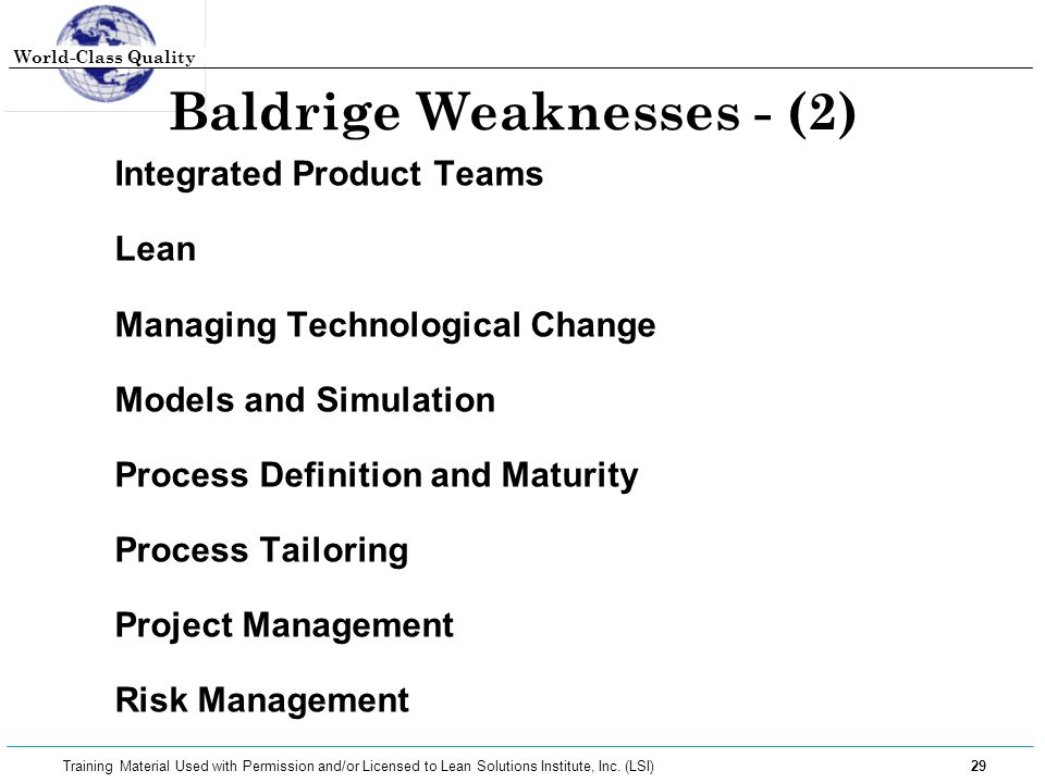 Baldrige Weaknesses - (2)