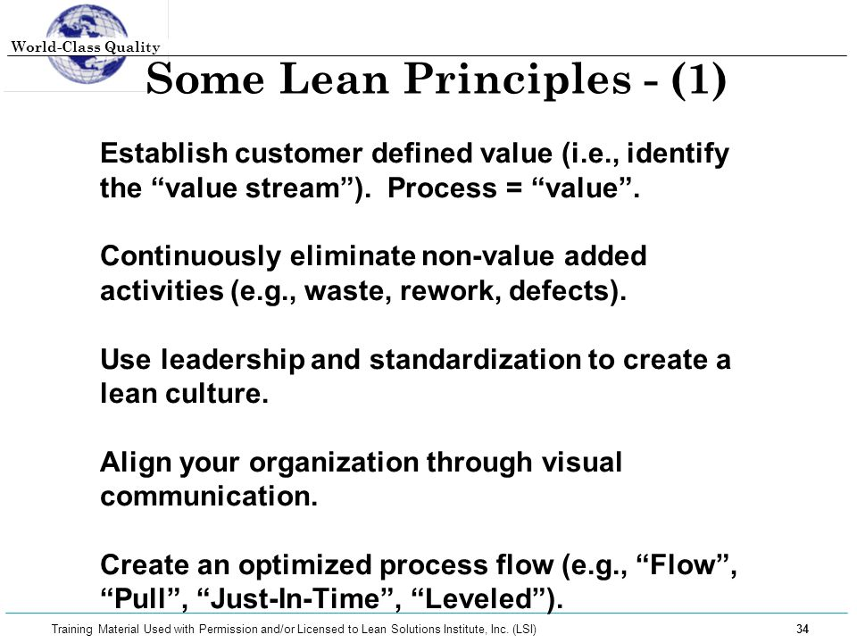 Some Lean Principles - (1)