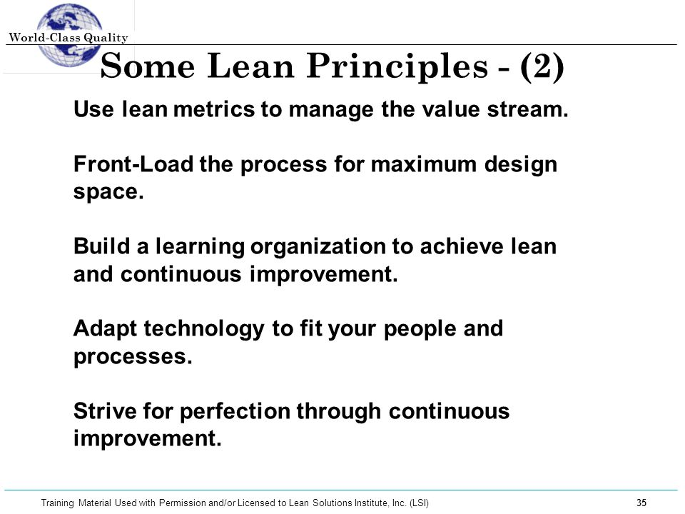 Some Lean Principles - (2)