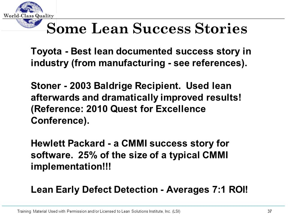 Some Lean Success Stories