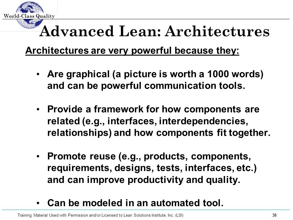 Advanced Lean: Architectures