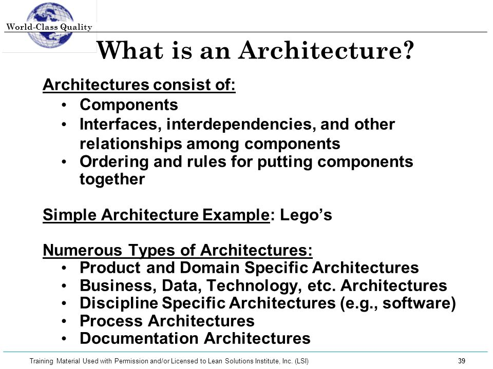 What is an Architecture
