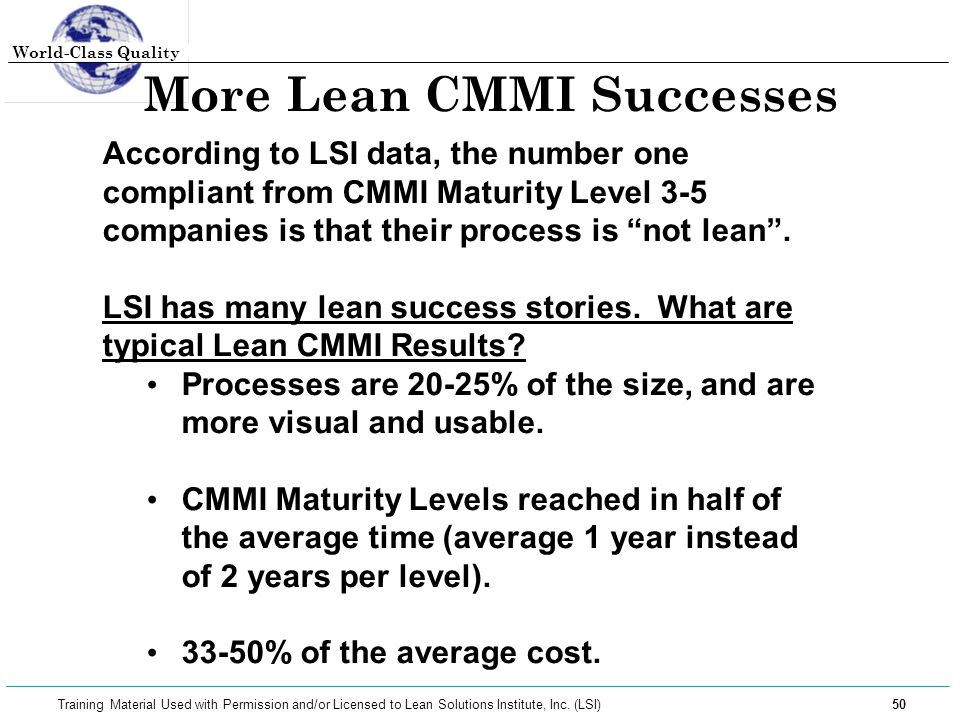 More Lean CMMI Successes