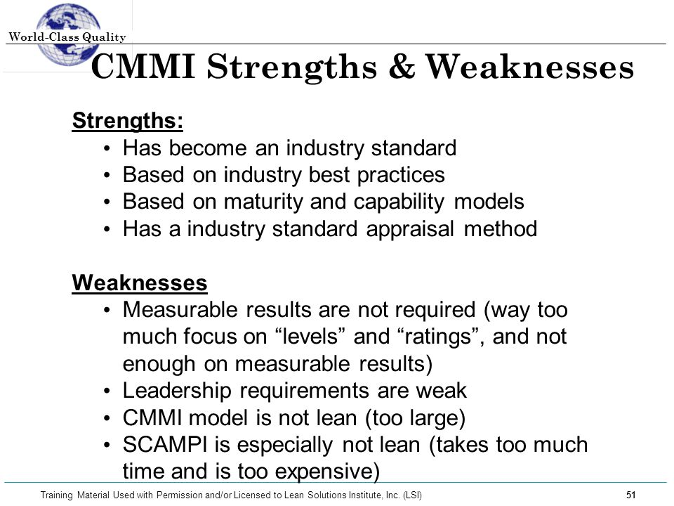 CMMI Strengths & Weaknesses