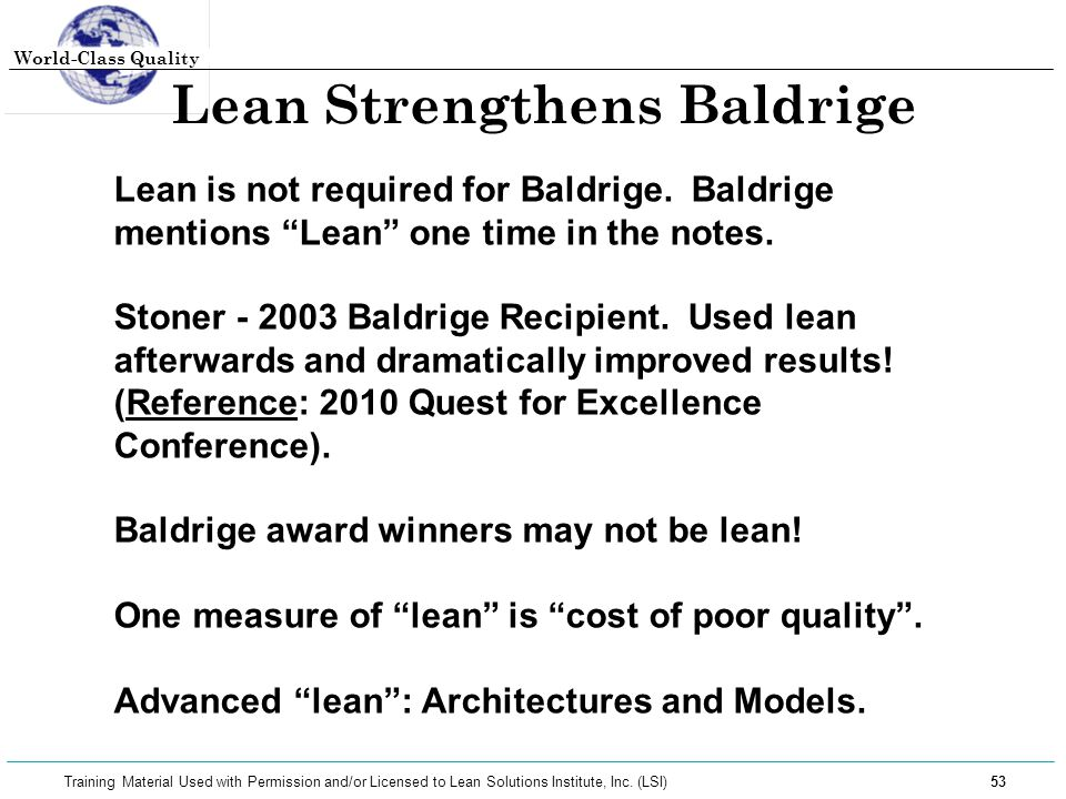 Lean Strengthens Baldrige