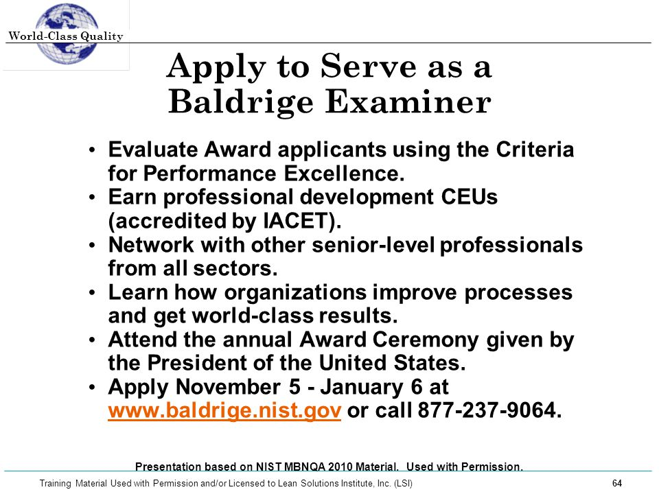 Apply to Serve as a Baldrige Examiner