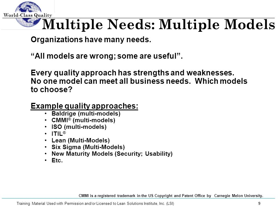 Multiple Needs: Multiple Models