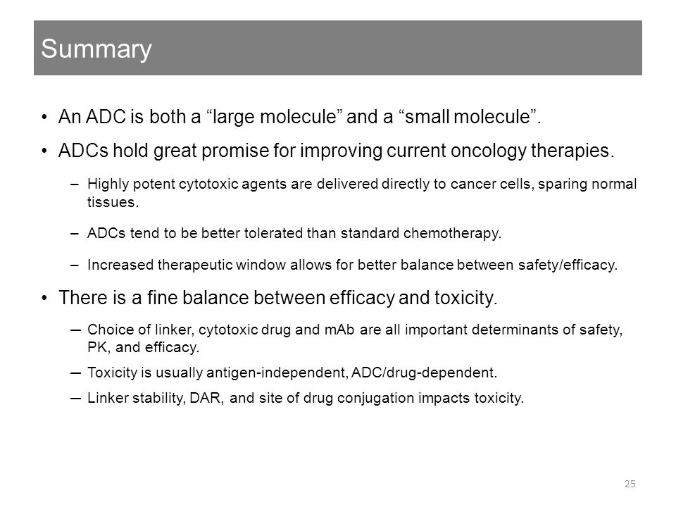 Summary An ADC is both a large molecule and a small molecule .