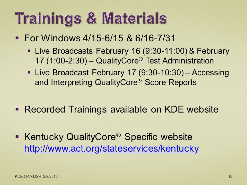 Trainings & Materials For Windows 4/15-6/15 & 6/16-7/31