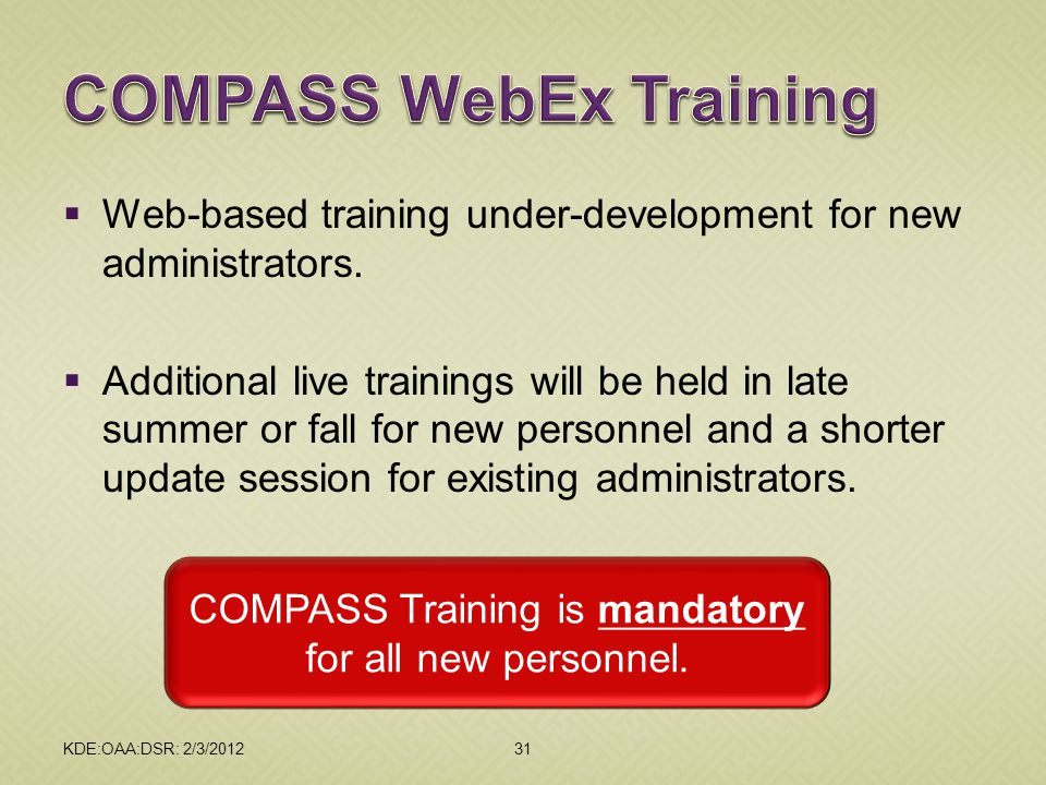 COMPASS WebEx Training