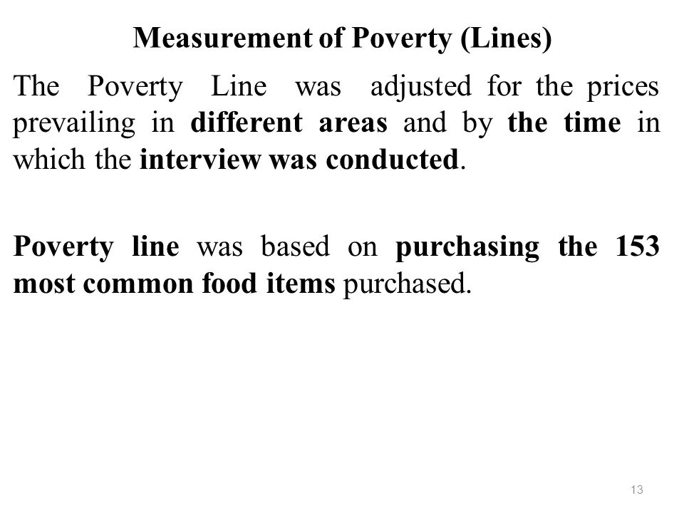 Measurement of Poverty (Lines)