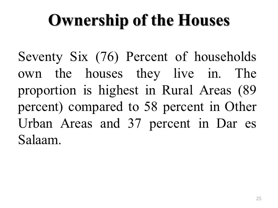 Ownership of the Houses