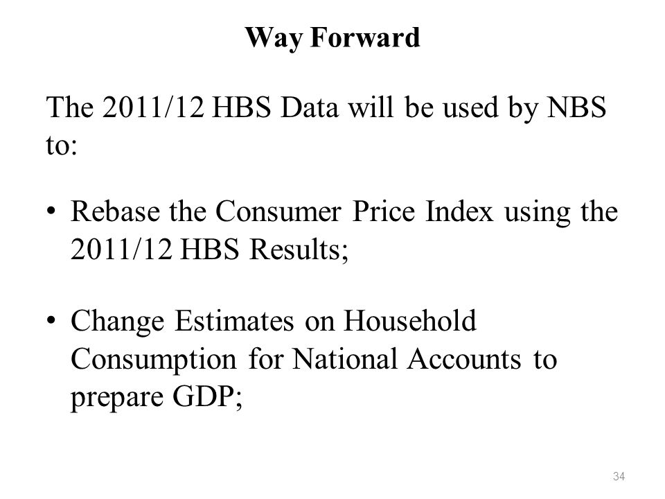 The 2011/12 HBS Data will be used by NBS to: