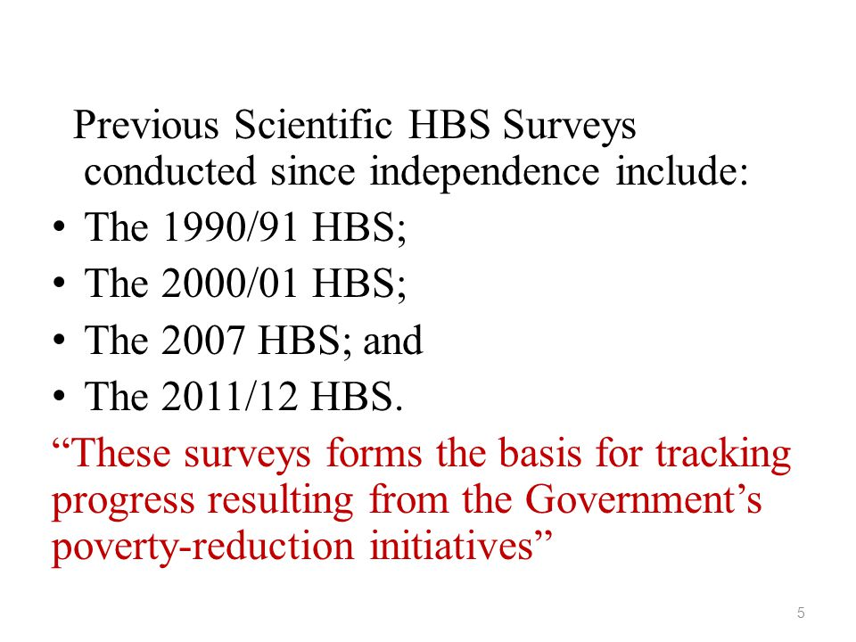Previous Scientific HBS Surveys conducted since independence include: