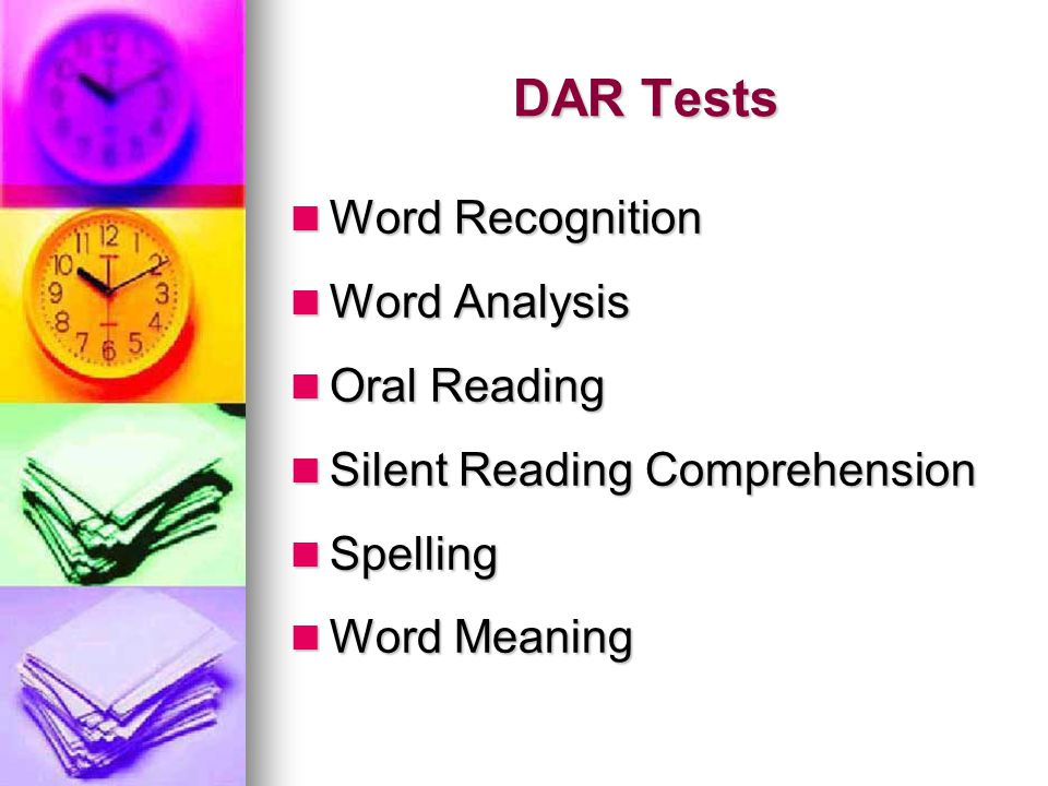 DAR Tests Word Recognition Word Analysis Oral Reading