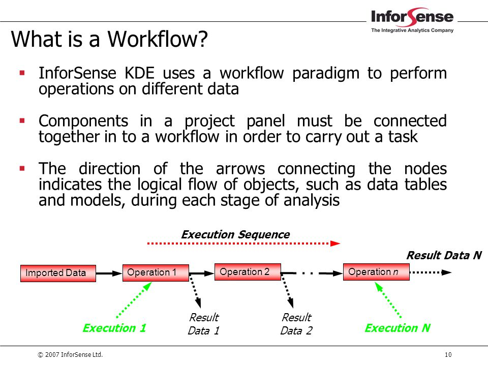 What is a Workflow InforSense KDE uses a workflow paradigm to perform operations on different data.