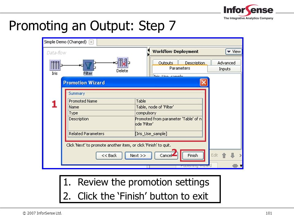 Promoting an Output: Step 7