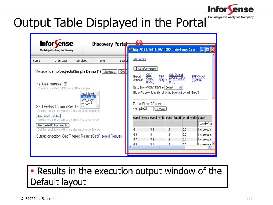 Output Table Displayed in the Portal