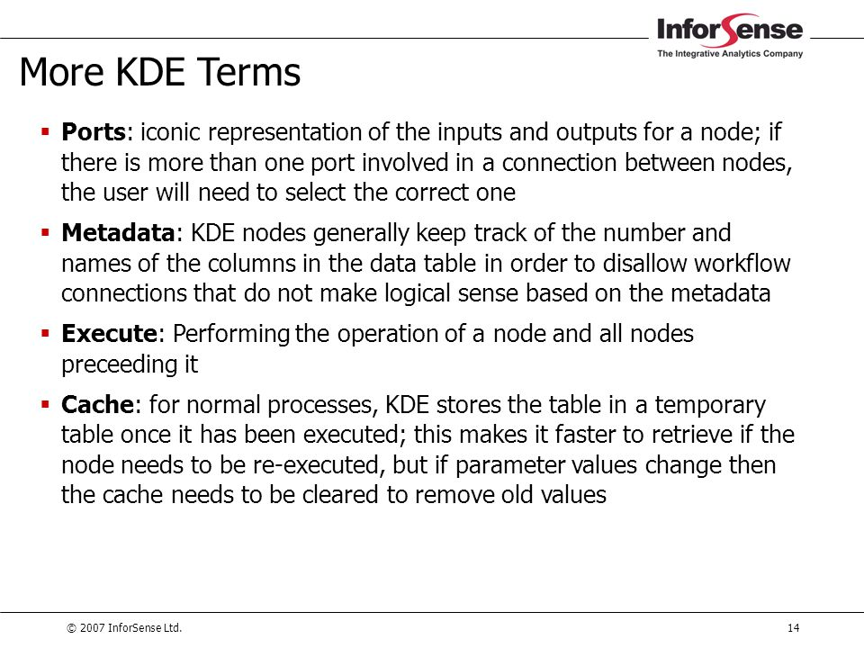 More KDE Terms
