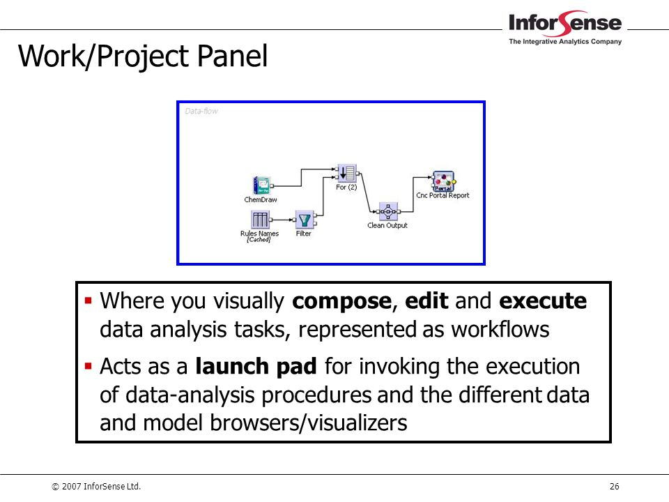 Work/Project Panel Where you visually compose, edit and execute data analysis tasks, represented as workflows.