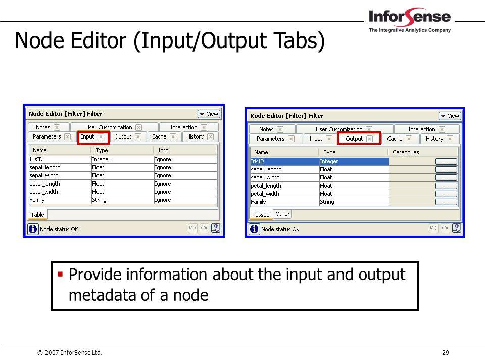 Node Editor (Input/Output Tabs)