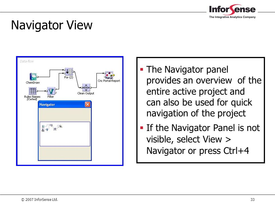 Navigator View The Navigator panel provides an overview of the entire active project and can also be used for quick navigation of the project.
