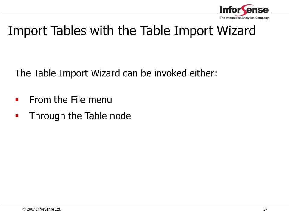 Import Tables with the Table Import Wizard