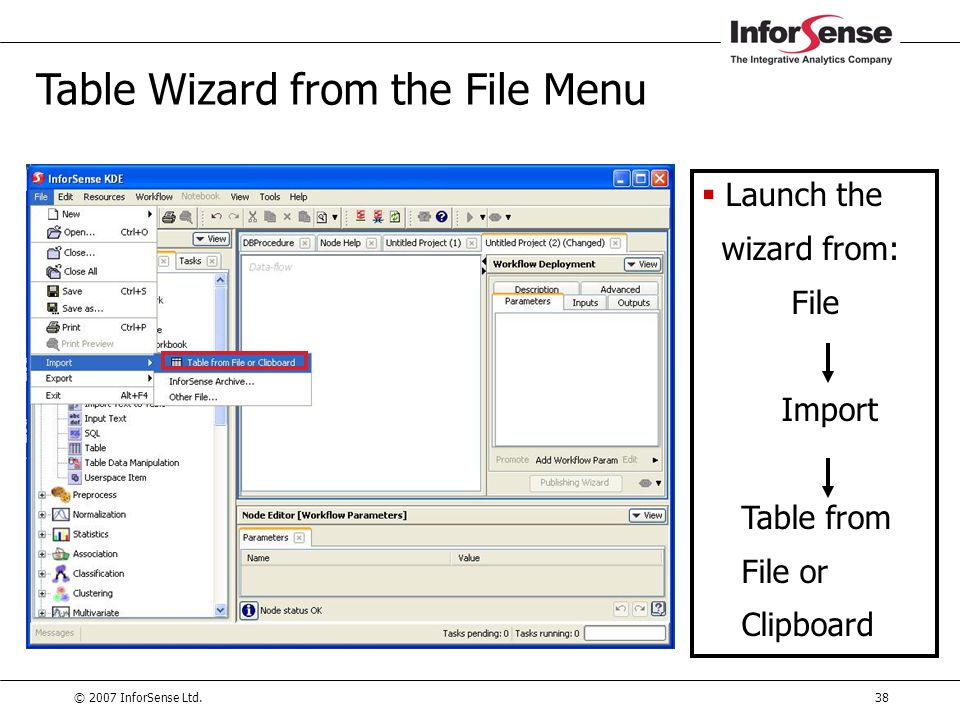 Table Wizard from the File Menu