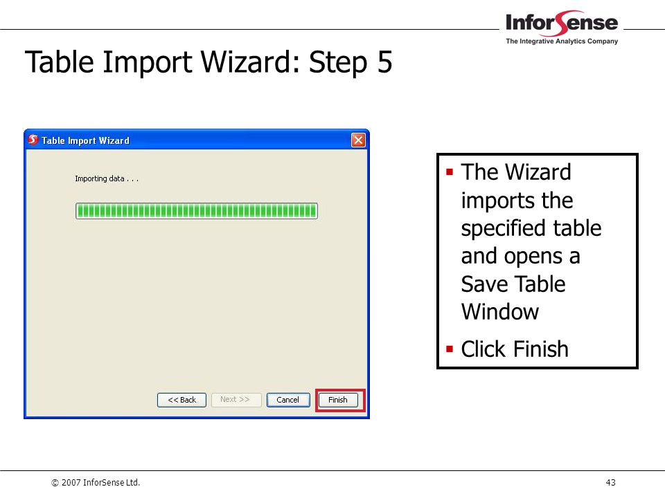 Table Import Wizard: Step 5